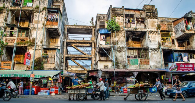 The White Building, a notorious slum in the heart of Phnom Penh, Cambodia