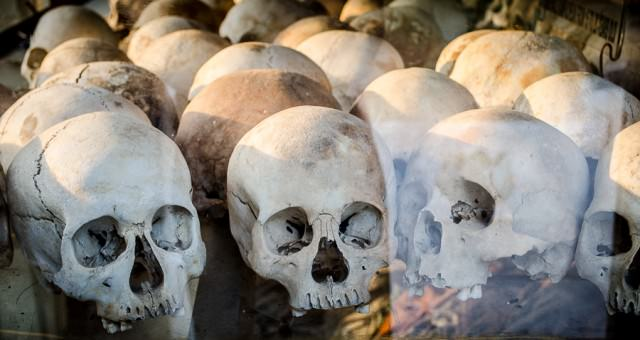 Human skulls on display at Choeung Ek, the killing fields in Phnom Penh.