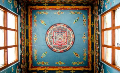 The ceiling of the gompa in Muktinath, Nepal