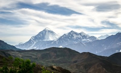 Annapurna mountain range as seen from Muktinath, Nepal.