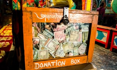 Donation box set up at the monastery in Kagbeni, Nepal.