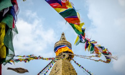 A view from underneath the prayer flags at Boudhanath Temple, Kathmandu, Nepal