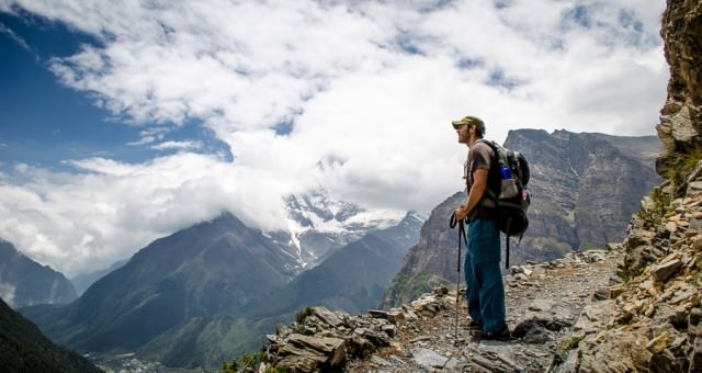 Adrian overlooking the valley during our trek on the Annapurna Circuit.