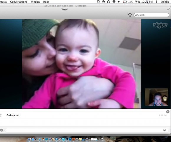 A screenshot of me skyping my sister and niece, Chloe.