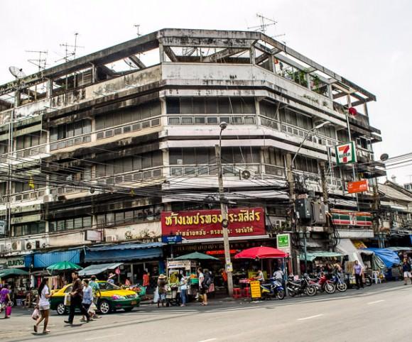 A busy street corner in Bangkok, Thailand.