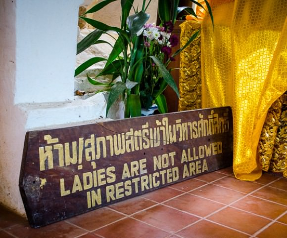 A sign at a temple in northern Thailand reading