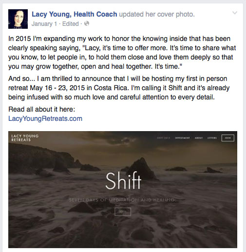 Lacy's post about the shift retreat