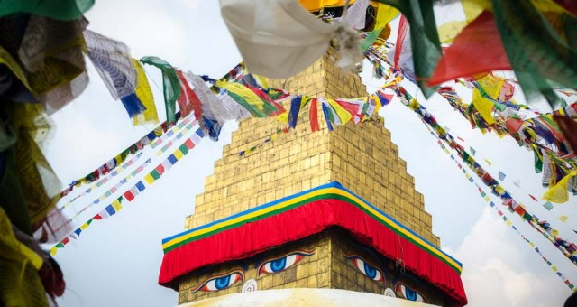 Prayer flags at Boudhanath Temple in Kathmandu